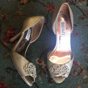 Badgley Mischka gold studded evening heels